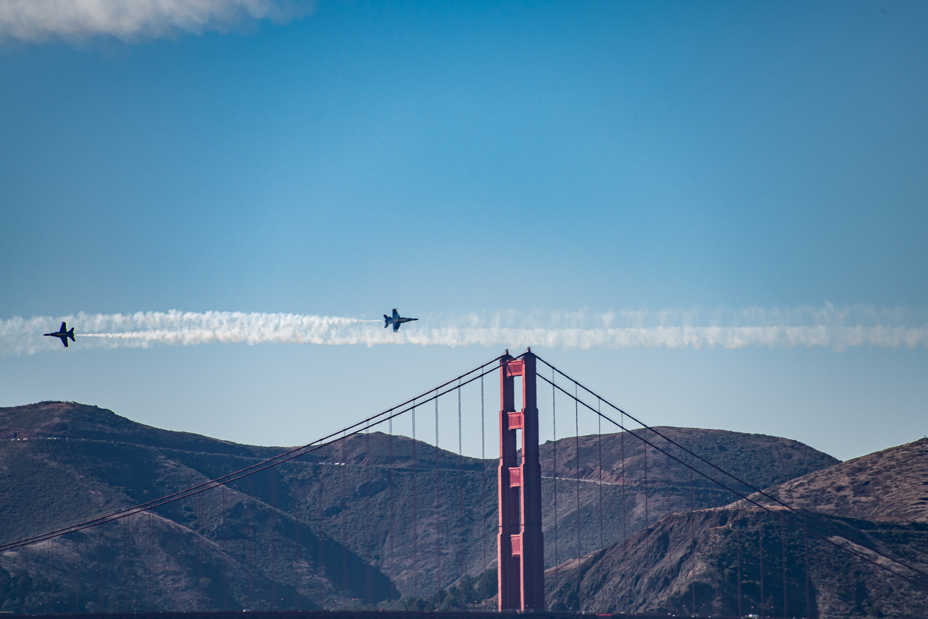Blue Angels fly over Golden Gate Brdige